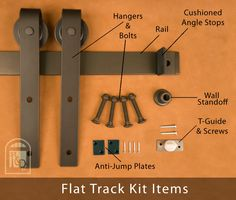 Real Sliding Hardware - Classic Flat Track Kit,(http://www.realslidinghardware.com/barn-door-hardware-flat-track-kit/)