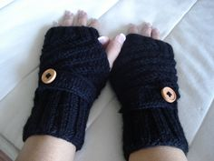 1pair Knitted button flap fingerless gloves mittens wrist warmers you can choose your color and with thumb or without thumb. $27.99, via Etsy.