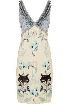 Miu Miu crystal-embellished sequined cady dress