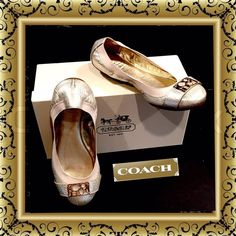 COACH Light Gold Metallic Ballet Flats & Box - 5.5 Authentic flexible metallic platinum ballet flats and box, size 5 1/2.  They are in excellent very gently worn condition. Coach Shoes