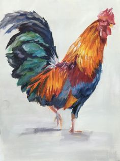 Rooster Strutting His Stuff #3, painting by artist Nancy Spielman