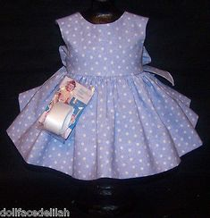 "Blue and White Dress for 22"" Saucy Walker or Smilar Dolls"
