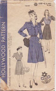 Vintage 1940s Hollywood Sewing Pattern 1219 Womens by CloesCloset, $30.00
