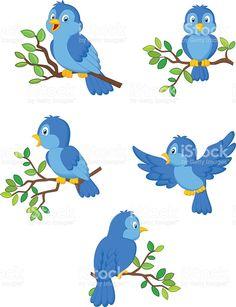 Illustration of a set of cute cartoon birds royalty-free stock vector art Art Drawings For Kids, Drawing For Kids, Cute Drawings, Art For Kids, Cartoon Pics, Cute Cartoon, Inkscape Tutorials, Islamic Cartoon, Bird Theme