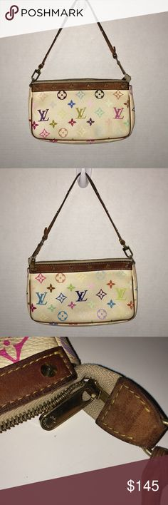 Louis Vuitton Multicolor Authentic Pochette Purse 100% Authentic  Date Code: SL0074 Vintage Item  The exterior of the handbag has extreme discoloration with a brown tint to it. I have not tried to clean it with any products and unsure what caused the discoloration . The Monogram is also fading.  The raspberry Interior has black stains in both corners that look like ink. The bag has a vintage odor. The leather and strap show wear and has cracks, fading, discoloration, marks and scuffs. Louis…