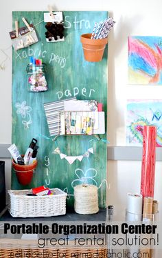 A portable organization center is a great rental solution! Create vertical storage without adding dreaded holes in the wall! featured on remodelaholic.com #diy #storage by Nellie Bellie