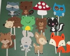 Woodland Animal Baby Shower Cakes   Animal Cupcake Toppers, Diaper Cake decorations, woodland baby shower ...