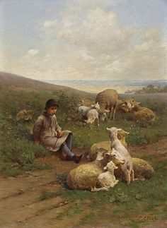 Luigi Chialiva (1842-1914) A Young Shepherd with his Flock
