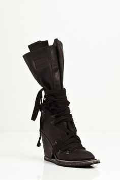 28017c888ae79 NICOLAS ANDREAS TARALIS Leather Lace Up Boots, Black Lace Up Boots, Black  Laces,