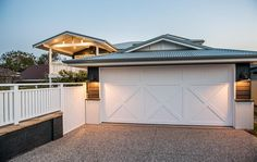 Kyal and Kara have project managed, designed or completed over 25 renovation projects. Garage Door Design, Front Yard Design, Garage Doors, Gate Designs Modern, Front Verandah, Country Home Exteriors, Hamptons House, House Extensions, Facade House