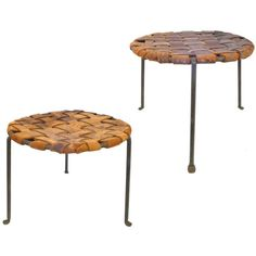 Pair of Iron and Woven Leather Stools by Lila Swift & Donald Monell | 1stdibs.com