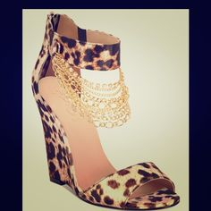 Leopard wedge 2 X HP Super cute. Has gold chains that dangle from the top strap Shoes Wedges