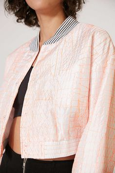 Slide View: 4: Without Walls Katey Embroidered Parachute Cropped Bomber Jacket