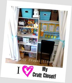 Love how organized this Craft Closet is! Great ideas and tips.