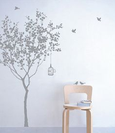 tree with birdcage Wall decal Nature Wall Decal por WallDecalDepot, $54.00