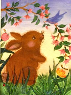 Bunny and bird making friends.  One Stroke Painting by Susan Earl.