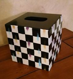 HP Whimsical Courtly Parchment checkerboard check adult or childs tissue box