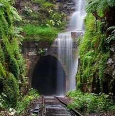 """Waterfall over abandoned train tracks - Nature Reclaimed"" BEAUTY! Image Nature, All Nature, Amazing Nature, Beautiful World, Beautiful Places, Beautiful Pictures, Beautiful Nature Scenes, Beautiful Sunset, Beautiful Waterfalls"