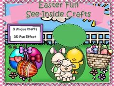 Free Easter fun crafts so you and your students can enjoy my see-inside crafts!  Full color visual instructions that are simple to complete.  Three fun crafts to color, cut, glue and create before Easter!  Print and go in black and white to save you time and ink!