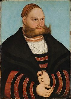 Portrait of a Man with a Gold-Embroidered Cap  Lucas Cranach the Elder (German, Kronach 1472–1553 Weimar)  Date: 1532 Medium: Oil on wood Dimensions: 20 x 14 3/8 in. (50.8 x 36.5 cm) Classification: Paintings Credit Line: Bequest of Gula V. Hirschland, 1980 Accession Number: 1981.57.1
