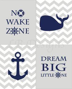 Gray and Navy Blue Nursery, Nautical Nursery Prints, Whale Nursery Decor, Nautical Nursery Decor, Anchor Nursery Decor - Four 8x10s by LJBrodock on Etsy