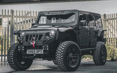 Download wallpapers Jeep Wrangler Black Edition, SUVs, 2017 cars, tunned Wrangler, Jeep