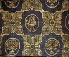 Ancient Byzantine fabric | Byzantine 8th century. Samite. Selyemszövet - kakasfigurával