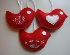 Red Felt Bird  Christmas Ornaments - Set of 3