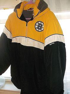 Reebok Boston Bruins Hockey Jacket Full Zip Athletic Hooded coat SZ XL Boys  #Reebok #BasicJacket #Everyday