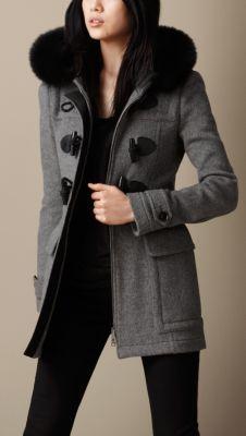 Detachable Fur Trim Fitted Duffle Coat | Burberry | Coat ...