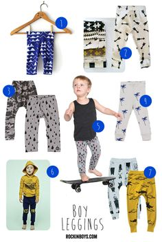 """Cool"" leggings for boys. Currently in the process of sewing several of these for both F & E."