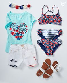 Leave the party looking as cool as you did lounging by the pool.I love this outfit! Cute Girl Outfits, Cute Summer Outfits, Kids Outfits, Tween Fashion, Fashion Outfits, Justice Clothing, Cute Bathing Suits, Barbie, Party Looks