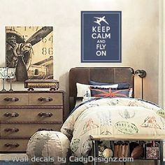 'Keep Calm & Fly On' wall art / decal for aviation themed nursery or toddler room.