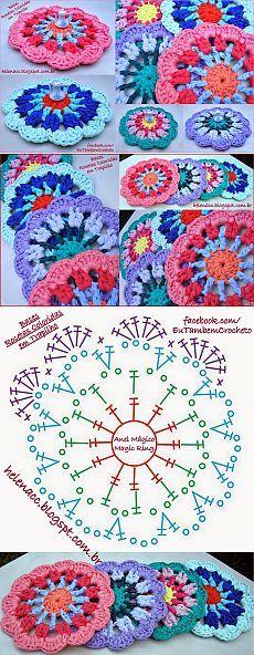 "Crochet Mandala ""Magnolia"" – F Crochet Coaster Pattern, Crochet Blocks, Crochet Chart, Crochet Squares, Love Crochet, Crochet Toys, Crochet Stitches, Knit Crochet, Crochet Mandala Pattern"