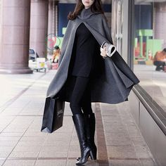 High Neck Long Sleeves Hooded Wool Cloak Coat