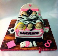 SLUMBER PARTY CAKE IDEAS - Love the zebra blanket !