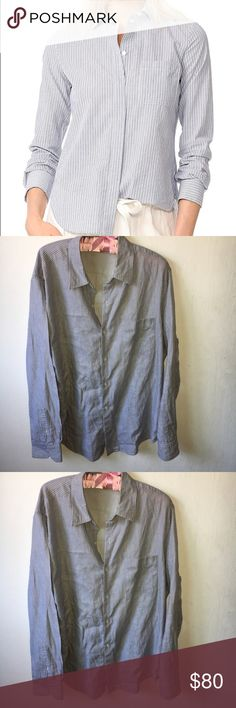 Vince striped button down shirt Top Size XL Vince striped button down shirt Top Size XL, gently used and in good condition. One front pocket. Vince Tops Button Down Shirts
