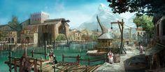 Vasten port Fishing area Fantasy landscape Fantasy city Fantasy concept art
