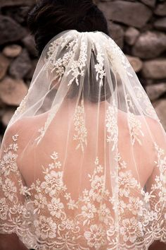 Ivory Wedding Veil Scalloped Edge Gold Thread by LoveFromAfar, $40.20