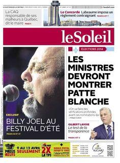 Le Soleil, 9 avril 2014 (Québec)