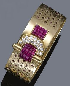 """Ludo-Hexagone"" Gold, Ruby & Diamond Bracelet 