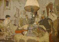 'Thefriendsaroundthe table,St.Jacut' by Edouard Vuillard (1868-1940, France)