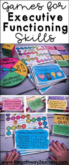 Games and activities that teach critical executive functioning skills, including self-control, attention, organization, flexibility, working memory, planning, and more! Use these games to help kids and teens in the classroom build the skills they need for academic and social success. Get a few free ideas and use what works with your students! #pathway2success #executivefunctioning Social Skills For Kids, Social Skills Activities, Counseling Activities, Art Therapy Activities, School Counseling, Therapy Ideas, School Social Work, High School, School Jobs