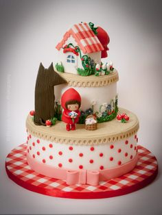 Gâteau le petit chaperon rouge / Little red riding hood cake Baby Cakes, Girl Cakes, Sweet Cakes, Gorgeous Cakes, Pretty Cakes, Cute Cakes, Amazing Cakes, Fondant Cakes, Cupcake Cakes