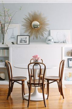 Sunburst Mirror - pretty table and chairs for nook