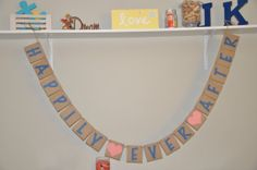 Happily Ever After  Banner  Coral and Navy by JKreations2013, $24.50