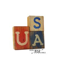 """$10.00 Recycled Wood """"USA"""" Blocks Perfect for adding patriotic decoration to any space! Finished recycled-wood blocks, hand painted with red, white, and blue, glued together in formation shown. Handcrafted by a skilled woodworker.  Want different letters or perhaps different colors? Just send us a custom product request and we would be happy to make you anything you want!"""