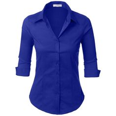 LE3NO Womens Roll Up 3/4 Sleeve Button Down Shirt with Stretch ($11) ❤ liked on Polyvore featuring tops, blue shirt, stretch top, blue button up shirt, 3/4 length sleeve tops and three quarter sleeve tops