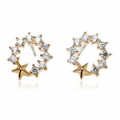 Star Medal Pave Setting Round Cubic Zirconia Gold Plated Stud Earrings