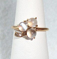 Victorian Moonstone Diamond Ring 14K
